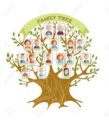 Tree with pictures of family members among the branches